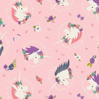 I Believe In Unicorns Pink Unicorns & Flowers Cotton