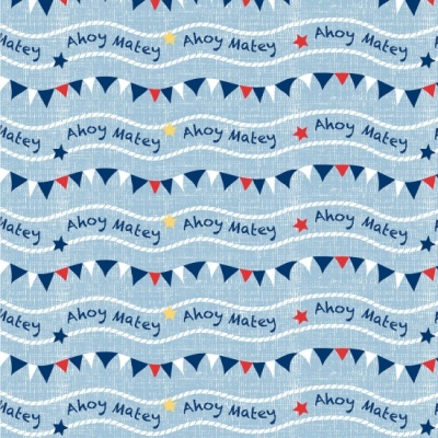 Ahoy Matey Bunting Blue Cotton