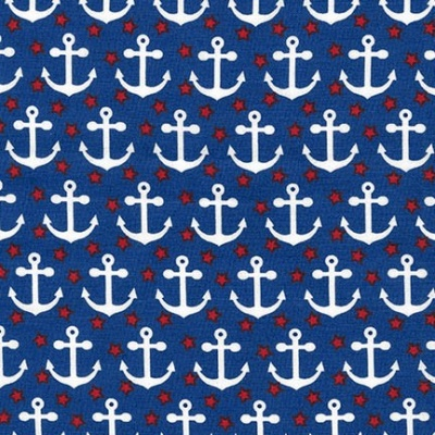 Fabulous Foxes Anchors Navy Cotton