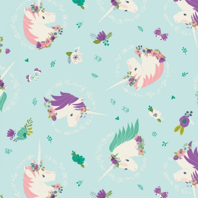 I Believe In Unicorns Aqua Unicorns & Flowers Cotton