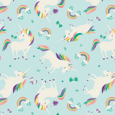 I Believe In Unicorns Aqua Unicorns & Rainbows Cotton