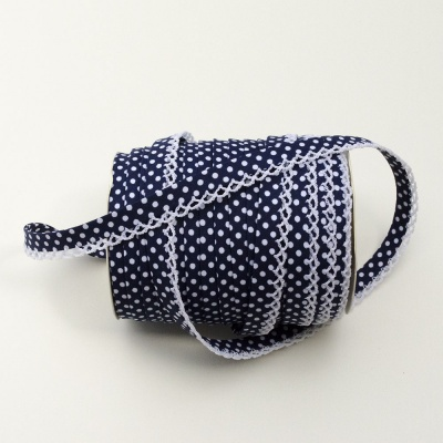 Navy Spot Lace Edge Bias
