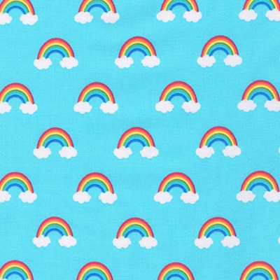 Happy Little Unicorns Blue Rainbows Cotton
