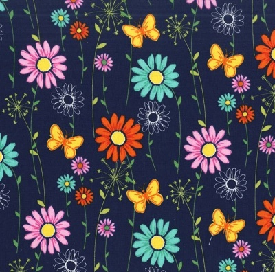 Doodle Daisy Navy Cotton
