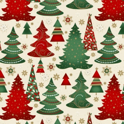 Elegant Christmas Trees Red Metallic Cotton
