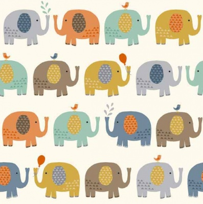 Baby Jungle Elephant Cream Cotton