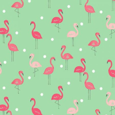 Paradise Flamingoes Green Cotton