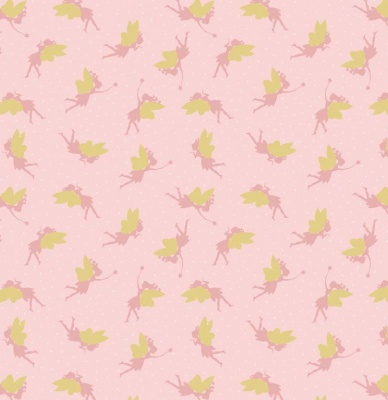 Fairies On Pink With Gold Metallic Cotton