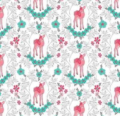 Flora Deer White Cotton