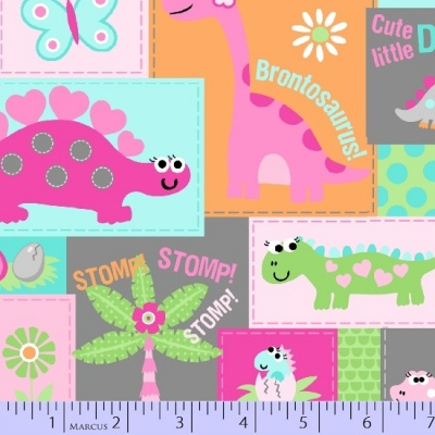 Girly O Saurus Patch Cotton