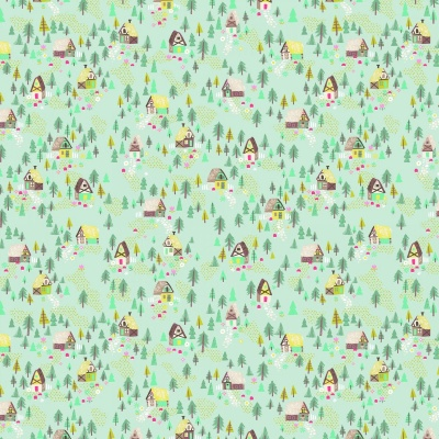 Goldilocks Cottage Teal Cotton