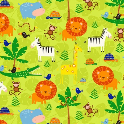 Green Jungle Animals Cotton