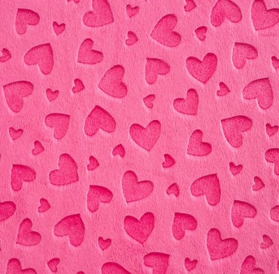 Heart Embossed Fuchsia Plush
