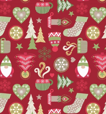 Hygge Christmas On Red Cotton
