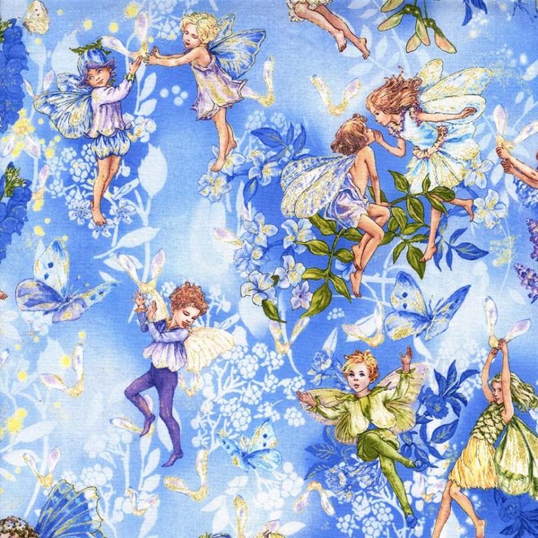 Rooftop Fabrics Dawn Flower Fairies Metallic Cotton By