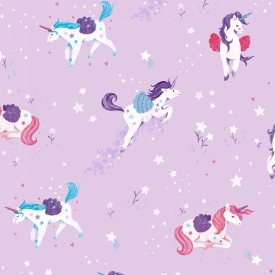 Lilac Unicorn All Over Cotton
