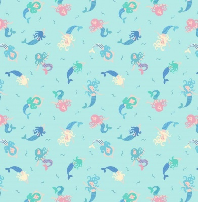 Mermaids On Light Blue With Metallic Blue Cotton