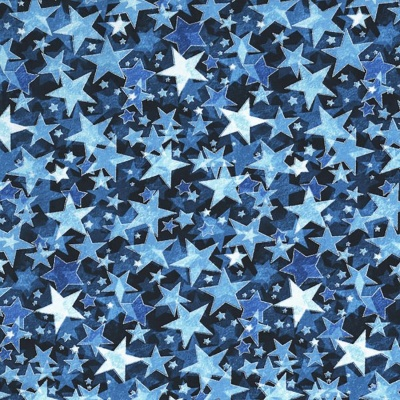 Metallic Star Blue Cotton