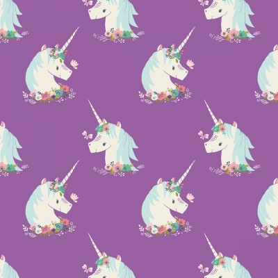 I Believe In Unicorns Orchid Unicorns Cotton