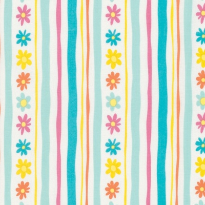 Pandas Aqua Daisy Stripe Cotton
