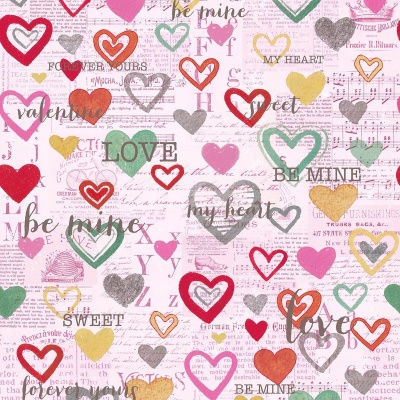 Pink Hearts on News Print Cotton