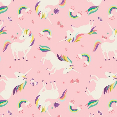 I Believe In Unicorns Pink Unicorns & Rainbows Cotton