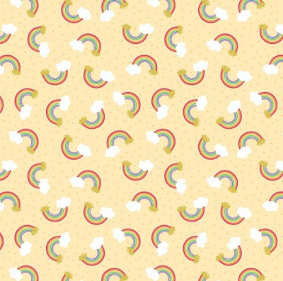 Rainbows On Yellow With Gold Metallic Cotton