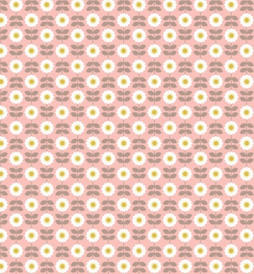 Retro Daisy on Pink Cotton