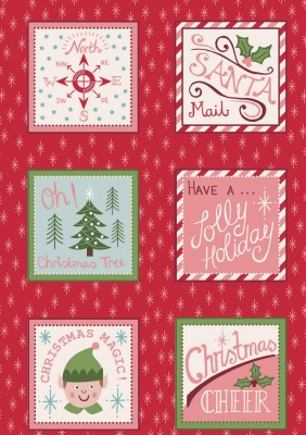 Santa Squares on Festive Red Cotton