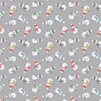 Scattered Snowmen On Grey Cotton