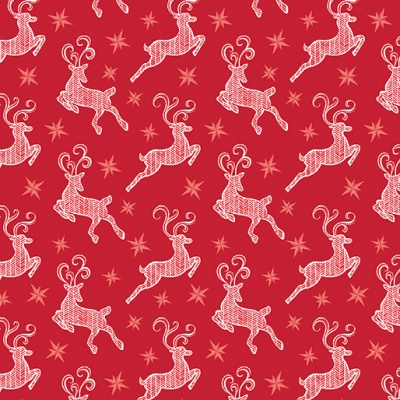 Nordic Small Reindeer Red Cotton