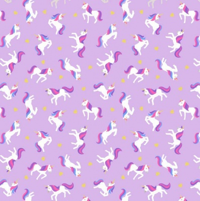 Unicorns On Lavender With Metallic Gold Cotton