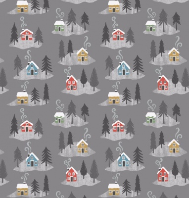 Snow Day Houses On Grey Cotton