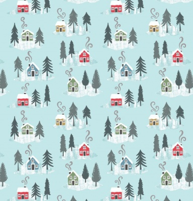 Snow Day Houses On Icy Blue Cotton