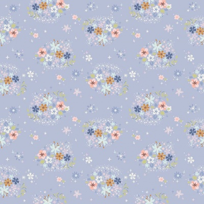 Neverland Star Flower Periwinkle Cotton