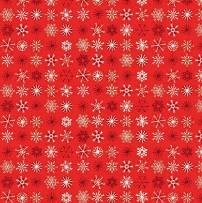 Traditional Snowflake Red Cotton