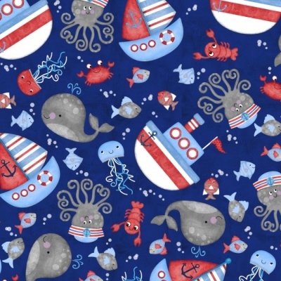 Anchors Away Sea Toss Cotton