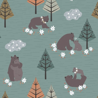 Bear Hug Pine Cotton