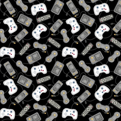 Black Game Console Controllers Cotton