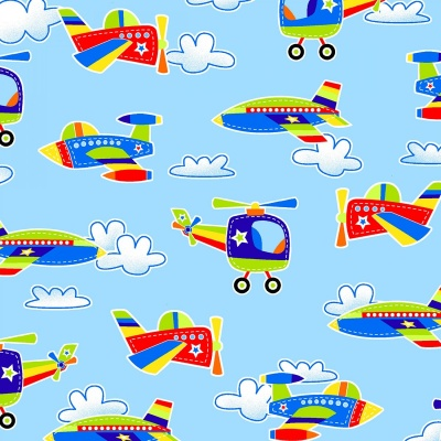 Blue Airplanes & Helicopters Cotton
