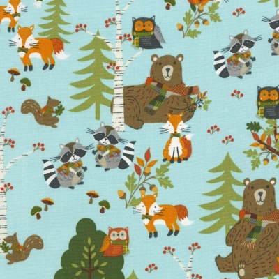 Lookin' Foxy Blue Forest Cotton