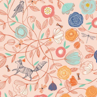 Boho Meadow Floral Animals Pink Cotton