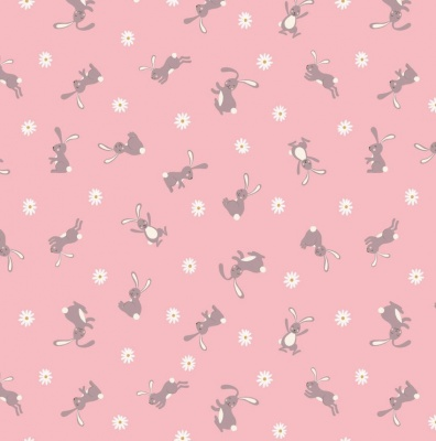 Bunny Hop Bunny on Pink Cotton
