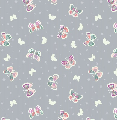 Fairy Nights Butterfly Glow on Light Grey Cotton