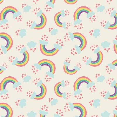 I Believe In Unicorns Cream Rainbows & Hearts Cotton