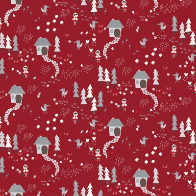 Little Red Dark Red Forest Path Cotton