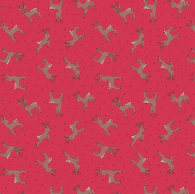 Small Things Country Deer Red Cotton