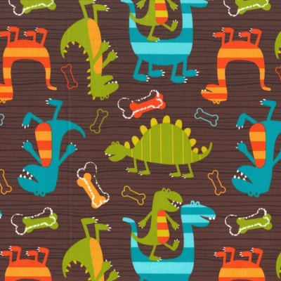 Dino Dudes Brown Cotton