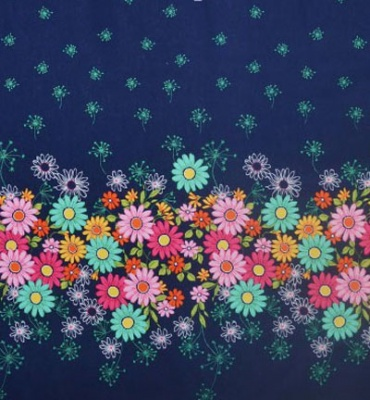 Doodle Daisy Border Navy Cotton