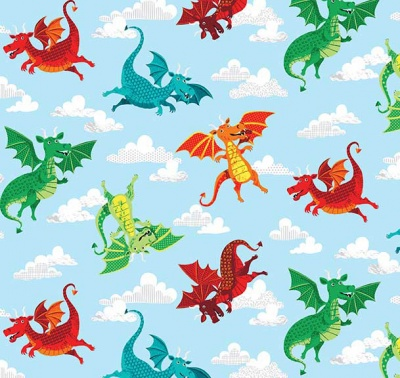 Dragonheart Dragons Sky Cotton